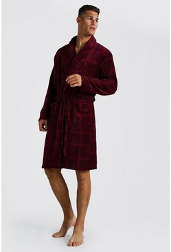 Mens Red Check Print Supersoft Robe