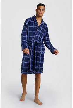 Mens Blue Check Print Supersoft Robe
