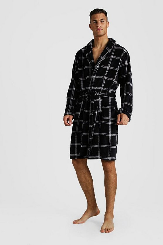 Mens Black Check Print Supersoft Robe