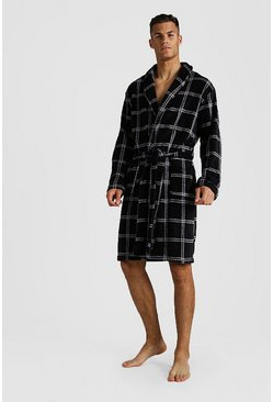 Check Print Supersoft Robe, Black, HOMBRE