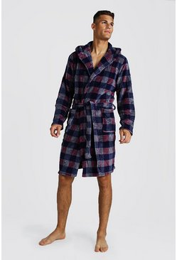 Check Print Hooded Fleece Robe, Red, HOMBRE