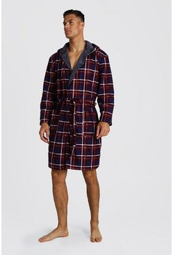 Check Print Hooded Flannel Robe, Red, HOMBRE