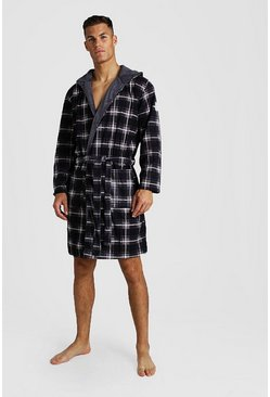 Check Print Hooded Flannel Robe, Black, HOMBRE