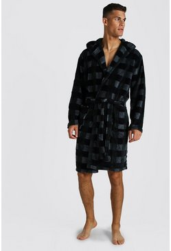 Mens Green Check Print Hooded Fleece Robe