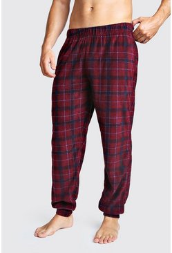 Mens Blue Check Cuffed Lounge Pants