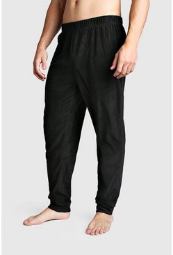 Mens Black Marl Fleece Cuffed Lounge Pants