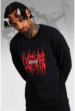 Mens Black Halloween Horror Print Sweatshirt