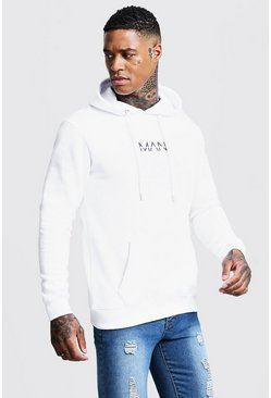 Mens White Original Man Print Over The Head Hoodie