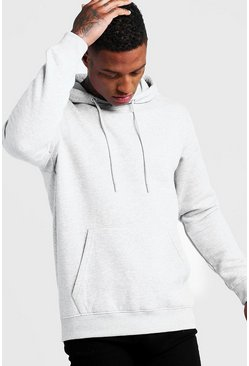 Mens Grey Basic Over The Head Fleece Hoodie