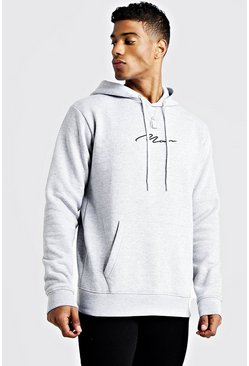 Mens Grey Man Signature Embroidered Oth Fleece Hoodie