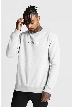 Herr Grey Man Signature Crew Neck Fleece Sweatshirt