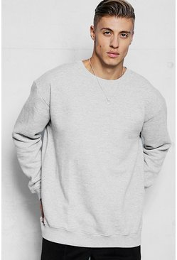 Mens Grey Fleece Oversized Sweatshirt