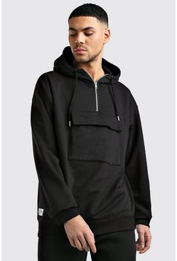 Black Oversized Utility Pocket Hoodie