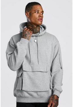 Grey Oversized Utility Pocket Hoodie