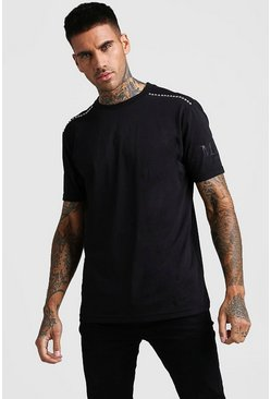 Mens Black MAN Official Print Stud Detail T-Shirt