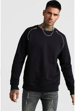 Herr Black Raglan Sweatshirt With Zip Detail