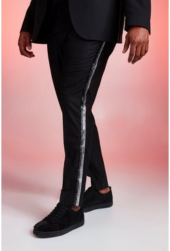 Mens Black Big And Tall Skinny Fit Trouser With Metallic Tape