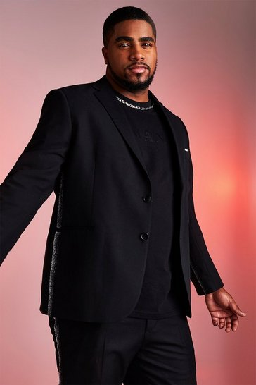 Mens Black Big And Tall Skinny Fit Blazer With Metallic Tape