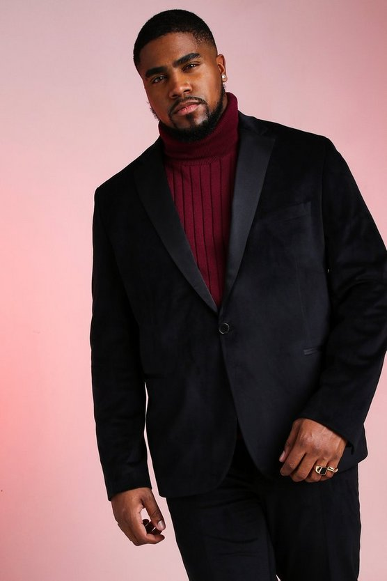 Black Big And Tall Skinny Fit Velour Blazer