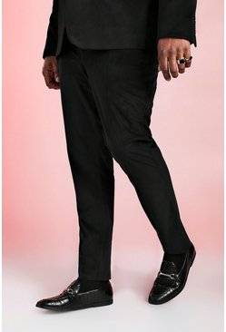 Black Big And Tall Skinny Fit Velour Trouser