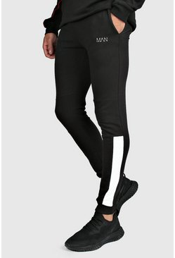 Mens Black MAN Active Skinny Fit Joggers