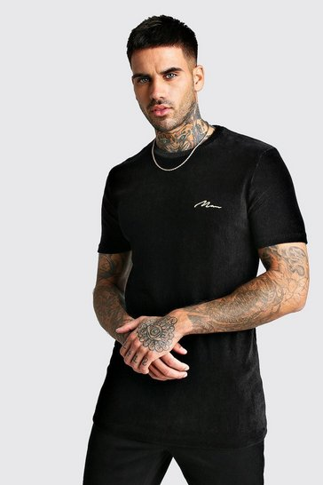 Mens Black Longline MAN Gold Ribbed Velour T-Shirt