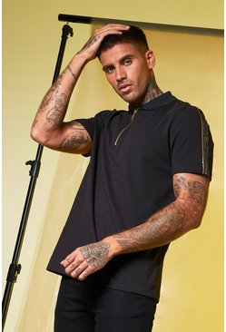 Mens Black MAN Gold Foil Tape Zip Polo In Pique