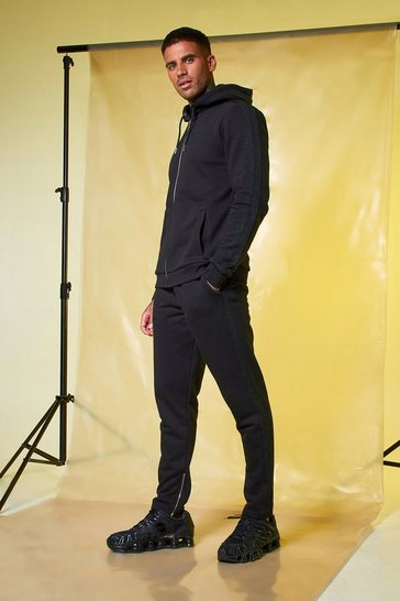 Mens Black MAN Signature Zip Hooded Tracksuit With Tape