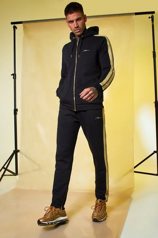 Gold MAN Signature Zip Hooded Tracksuit With Tape