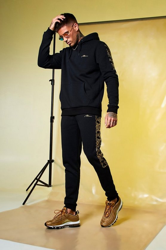 Black Skinny Fit MAN Gold Hooded Panelled Tracksuit