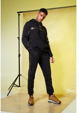 Mens Black MAN Gold Foil Tape Hoodie