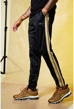 Black MAN Gold Pintuck Jogger With Zips