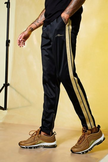 Mens Black MAN Gold Pintuck Jogger With Zips