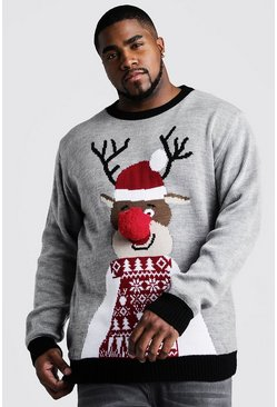 Mens Grey Big And Tall Reindeer Santa Hat Christmas Jumper