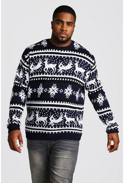 Mens Navy Big And Tall Reindeer Fairisle Christmas Jumper