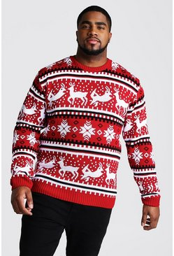 Mens Red Big And Tall Reindeer Fairisle Christmas Jumper