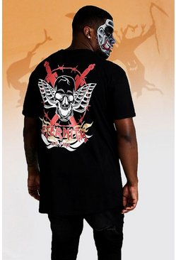 Herr Black Big And Tall Skull Back Print T-Shirt