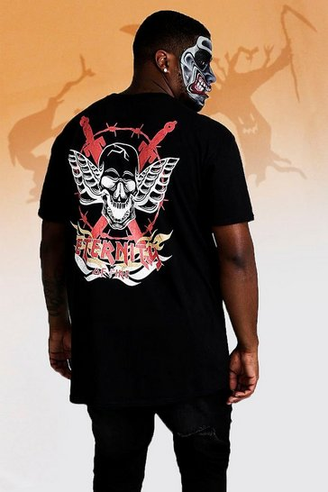Mens Black Big And Tall Skull Back Print T-Shirt