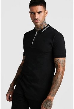 Mens Black Muscle Fit MAN Official Zip Polo