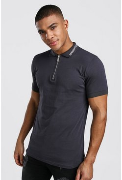Mens Charcoal Muscle Fit MAN Official Zip Polo