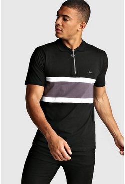Polo zippé colorblock signature MAN, Noir, Homme