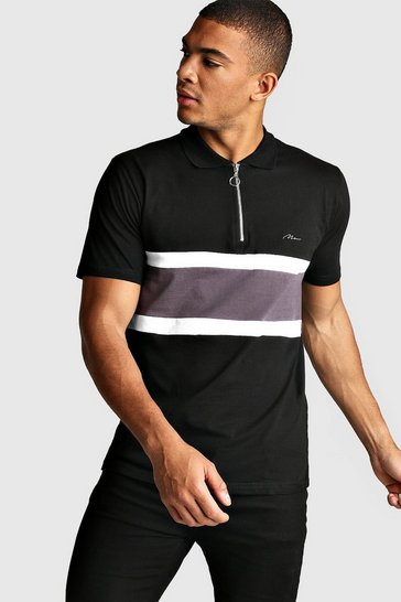Mens Black MAN Signature Colour Block Zip Polo