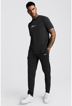 Herr Black Smart MAN Signature Jacquard Stripe Tracksuit