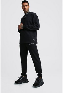 Mens Black MAN Official Loose Fit Sweater Tracksuit