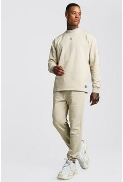 Mens Taupe MAN Official Loose Fit Sweater Tracksuit