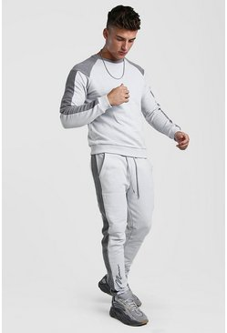 Grey 3D MAN Signature Contrast Panel Sweater Tracksuit