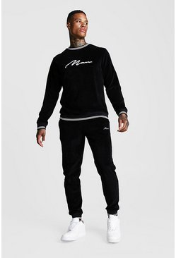 Mens Black MAN Signature Velour Sweater Tracksuit