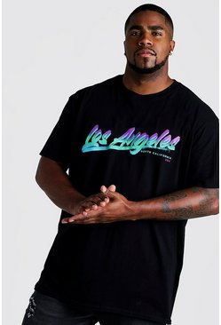 Mens Black Big And Tall Loose Fit Los Angeles Print T-Shirt