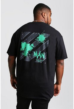Camiseta con grafiti de goteo MAN Exclusive Big And Tall, Negro