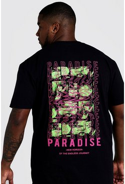 "Camiseta con estampado ""Paradise"" en 3D por detrás Big And Tall, Negro"